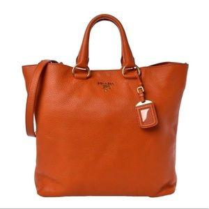 Prada Vitello Daino Papya Orange Leather Tote